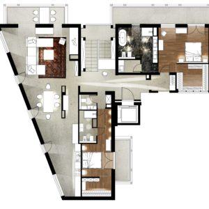 Kraków penthouse plan